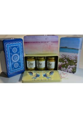 Confezione regalo - scatola in latta della Sardegna con creme sa Marigosa
