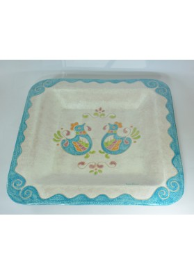 Piatto quadrato ceramica sarda Kerapinte
